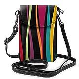 Bolso de hombro cruzado para mujer bolsa de teléfono colorido bohemio olas oscuras titular de la tarjeta del dinero organizador bolso bolso pu cuero