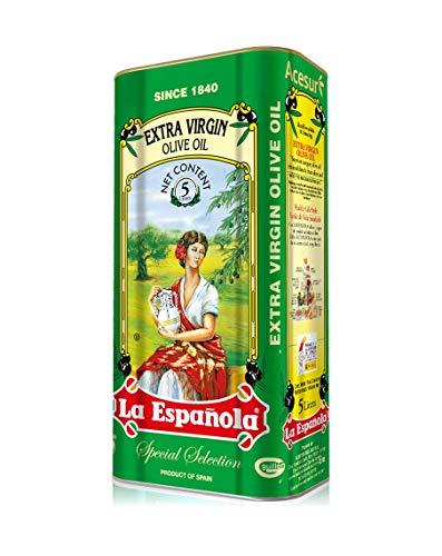 LA ESPAÑOLA - Aceite de Oliva Virgen Extra Extraído en Frío en Formato de Lata Decorada de 5 Litros, Procedente de Jaén, Ideal como Aderezo o para Realzar el Sabor de tus Comidas