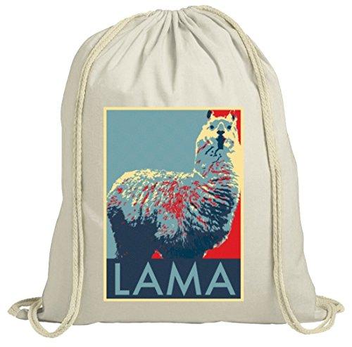 Lama Graffiti Turnbeutel im Schablonen Streetart Style für Lama Alpaka Freunde, Größe: onesize,natur