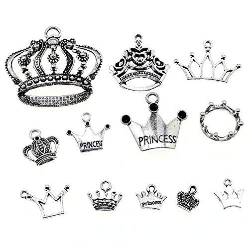 100 g de plata antigua corona colgante Charms para joyería accesorios para manualidades