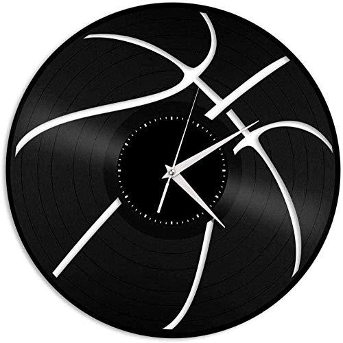 XYLLYT Pelota de Baloncesto Reloj de Pared de Vinilo Amante de los Deportes Decoración de la habitación del hogar Diseño Vintage Oficina Bar Habitación Decoración del hogar-No_Led