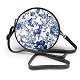 Bolso redondo mujer Shoulder Bags Women Round Bags Vintage Seamless Design with Floral and Wild Animal Crossbody Leather Circle Bag