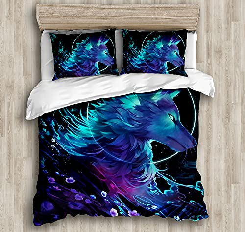Duvet Cover Bedding,Set Ultra Soft Microfiber Bedding Cool wolf head Printed Quilt Cover with Zipper Closure,135*200cm
