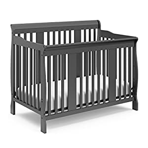 Storkcraft Tuscany 4-in-1 Convertible Crib, Gray, Easily Converts to Toddler Bed, Day Bed or Full Bed, 3 Position Adjustable Height Mattress (Mattress Not Included)