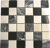 1qm 8mm Marmor Mosaik Fliesen Matte in Schwarz und Weiß (MT0060 m2) für Wand und Boden