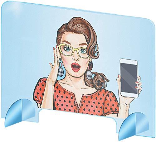 Spuckschutz Plexiglas aus Acrylglas - Glasklar Plexiglas Schutzwand - sichern Spuckschutz Thekenaufsatz mit Durchreiche...