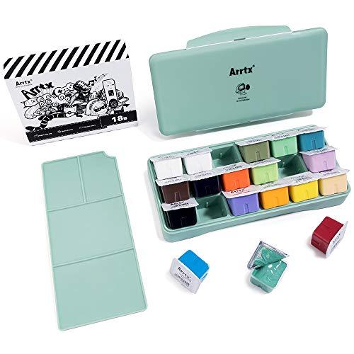 Arrtx Gouache Paint Set, 18 Colors x 30ml Jelly Cup Design Gouache with Palette, Gouache Watercolor Painting Suitable for Hobbyist, Artists Designing, Graffiti, Portrait Painting (Primrose)
