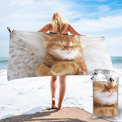 Toalla De Playa Suave Y Súper Absorbente Sleeping Kitty Adecuado para Niños Y Adultos Viajes Al Aire Libre Camping Natación Yoga-One Color 27.5X55 Pulgadas