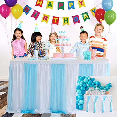HBBMAGIC Azul Falda de Mesa de Tul Faldas de Mesa Hechas a Mano para Fiesta, Baby Shower, Boda, cumpleaños, Barra de Caramelo, decoración del hogar 🔥