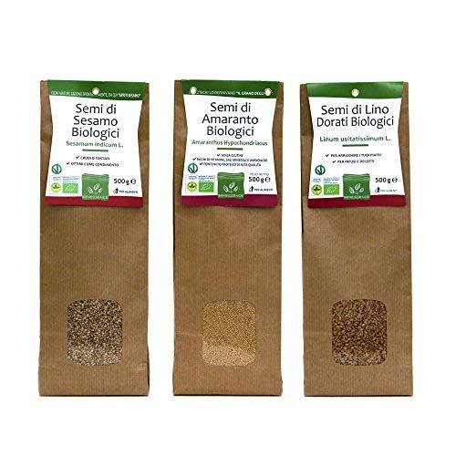 Mix Semi Biologici: Sesamo - Amaranto - Lino - 3 Confezioni da 500 g