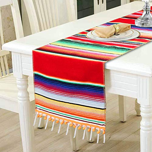 OurWarm Mexican Table Runner Serape Blanket Table Runner with Pom Pom Trim for Mexican Wedding Fiesta Party Decorations, Fringe Cotton Table Runner 14 x 84 Inch