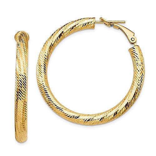 Leslie's - Orecchini a cerchio in oro giallo 14 kt, 4 x 30 con taglio a diamante Omega (39 x 38,22 mm) per donna