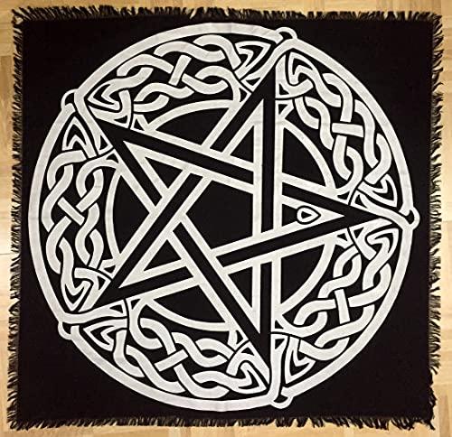 Big Silver Pentagram Tarot Altar Cloth Penta Silver 36x36 inches Table Cloth (Celtic Pentagram Silver, 3636 inches)
