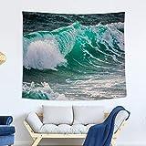 nobranded Tapiz de mar Azul Tapiz de Ola de océano Decoración de Tela de Pared Fondo Decoración de Pared Tapiz de Tela para habitación
