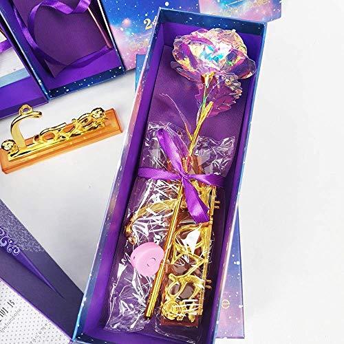 Yaowo Regalo Creativo del Día De La Madre De Día De San Valentín 24K Foil Gold Rose Artificial 24K Gold Rose (Multicolor)