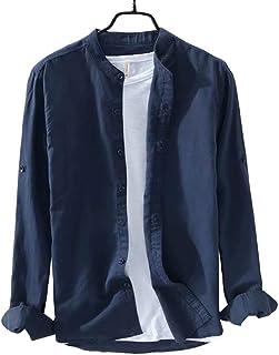 IAN-LIFE メンズ シャツ 麻シャツ 襟なし リネンシャツ 綿麻 長袖 無地 柔らかい カジュアルシャツ 綿麻 半袖 薄手 夏 秋 5色 XS-3XL展開