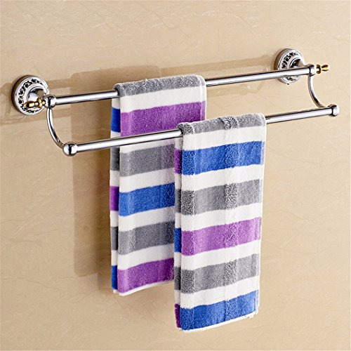 Handdoekhouder voor handdoekdroger, voor wastafels, badkamer, rek, handdoekhouder, met dubbele schacht, geperforeerd, van keramiek goud en zilver, roestvrij staal, 80 cm