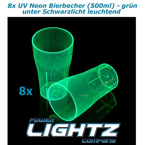 PowerLightz 8 UV Neon beker 500 ml in groen, bier, longdrink, cocktail, cola, blacklight, glazen, meerweg, plastic