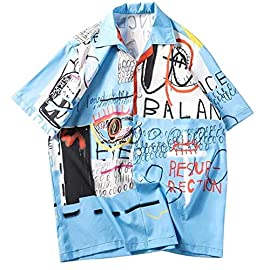 Aelfric Eden Short Sleeve Hawaiian Shirt Japanese Harajuku Shirt Button Down Summer Devil Print Tops Shirts