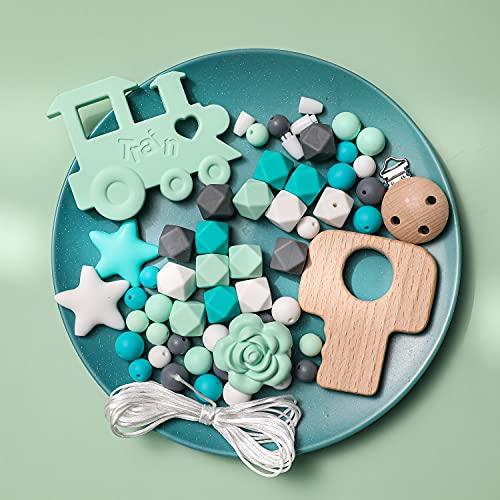 Mamimami Home DIY Collar de enfermería Cuentas de dentición Pulsera De Silicona Dientes de bebé Tren Pinzas para chupete Encantos de la enfermera