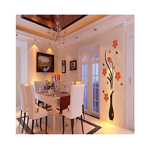 花瓶プラムクリスタル3D三次元ウォールステッカーリビングルームエントランスベッドルームのテレビの背景の壁の家のステッカーホームデコレーション,large
