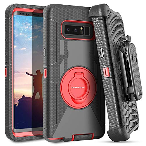 DUEDUE Galaxy Note 8 Case, Ring Kickstand Belt Clip Holster,Shockproof Heavy Duty Hybrid Hard PC Soft Silicone Full Body Rugged Protective Case for Samsung Galaxy Note 8,Red