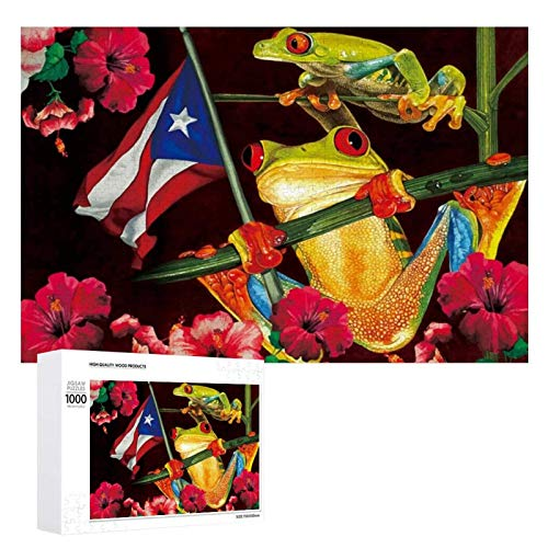 1000 Pieces Jigsaw Puzzle Flowers Frog National Puerto Rico FlagPictures Puzzle for Adults Teens Large Wooden Puzzle Game Artwork for Home Wall Decoration Photo Frame Box Kids DIY Floor Puzzles 75x5