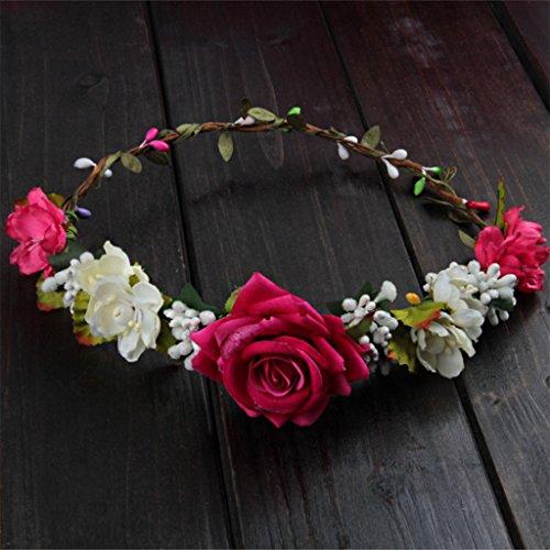 Xuniu Femmes Mariage Fleurs Cheveux Guirlande Couronne Bandeau Floral Rose Vacances À La Main