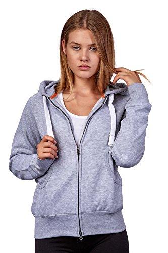 Happy Clothing Damen Sweatjacke mit Kapuze Zip Hoodie Kapuzenjacke Basic Einfarbig S M L, Größe:M, Farbe:Grau meliert