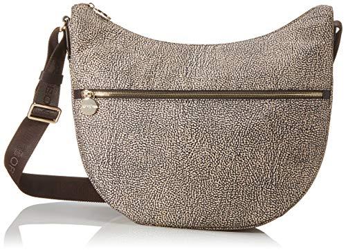 Borbonese Luna Bag Medium, Borsa a Tracolla Donna, Marrone (Op Naturale/Nero), 35x38x15 cm (W x H x L)