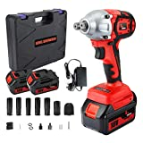 Impact Wrench with 2 Battery, KINGSHOWDEN 18V CordlessImpactDriver Set, 10,000mAH Lithium Battery, 520N.M