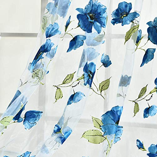 BROSHAN Voile Sheer Curtains Blue, Watercolor Lush Flower with Leaves Print Sheer Curtain Drapes for Bedroom Living Room Window Treatment Panels Rod Pocket, 1 Set of 2