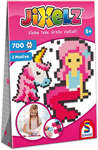 Schmidt Spiele 46115 Jixelz, Einhorn und Meerjungfrau, 700 Teile, 2 Motive, Kinder-Bastelsets, Kinderpuzzle
