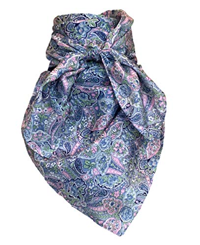 Wyoming Traders Wild Rag Floral , Blue Paisley , Large