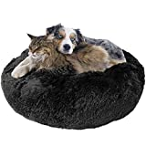 Downtown Pet Supply Premium Donut Dog Bed, Cozy Poof Style Giant Pet Bed Great for Cats & Dogs - Orthopedic, Washable, Durable Dog Bed (Black, Small)