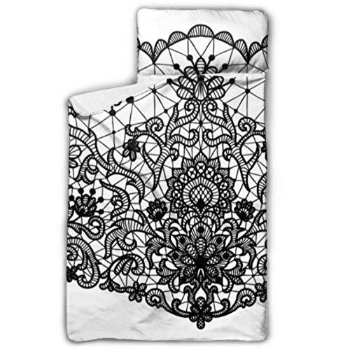 WYYWCY Fashion Trend Lace Print Schlafsäcke Für Kinder Kinder Kindertagesstätte Schlafsack Mit Decke Und Kissen Rollup Design Ideal Für Vorschule Kindertagesstätte Sleepovers 50
