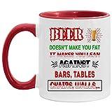 N\A La Cerveza no engorda, Hace Que te apoyes en Barras, mesas, sillas, Paredes, Taza Decorativa
