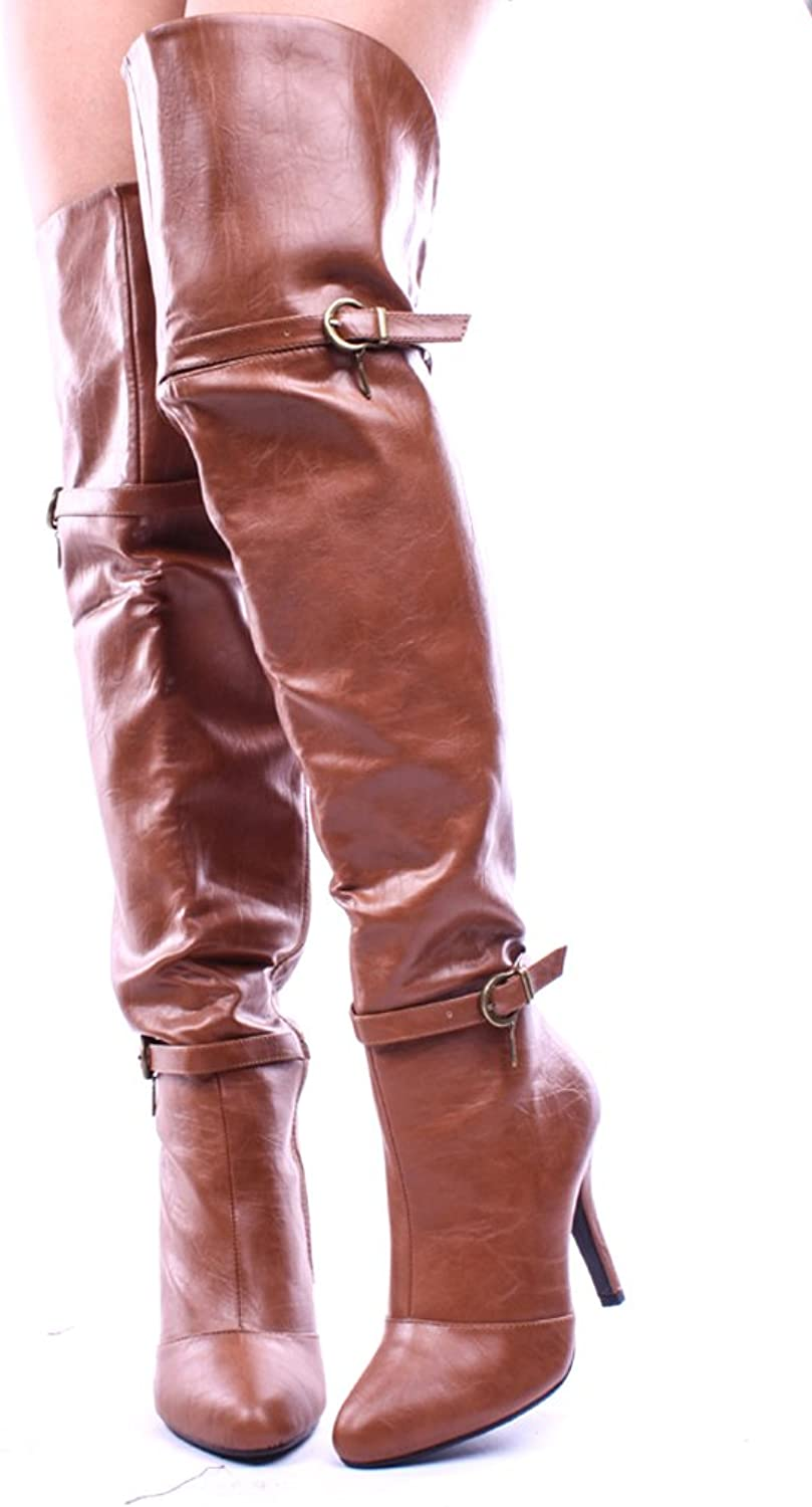Forever Link Womens Focus-35 Tan High Heel Thigh High Boots
