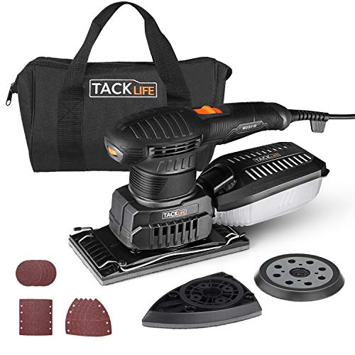 TACKLIFE 3 in 1 Electric Handheld Sander, Multifunction Sander with 15 Pcs Sandpapers 6 Variable Speeds 7000RPM-12000RPM, Efficient Dust Collection System Power Sander Machine DIY-MDS01B
