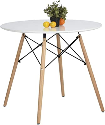 Nidouillet Eiffel Rectangle Round Dining Office Study Coffee Table Set White