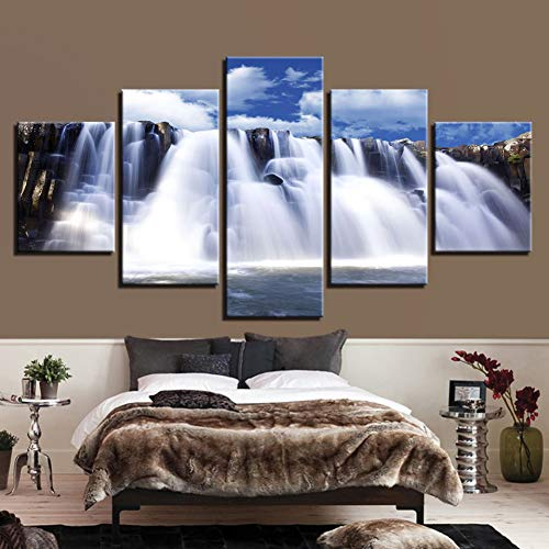 LPHMMD 5 canvas paintings Canvas Pictures Wall Art Decor HD Prints 5 Pieces Mountain And Rivers Waterfall Paintings Living Room Landscape Poster -30x50cm 30x70cm 30x80cm
