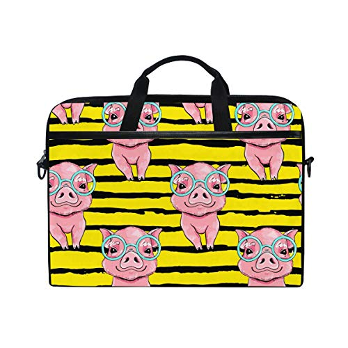 Moyyo Cute Pink Pig Laptop Bag Laptop Case with 3 Compartment Shoulder Strap Handle Canvas Computer Bag Personalised for Women Men Kids Girls Boys 15 inch