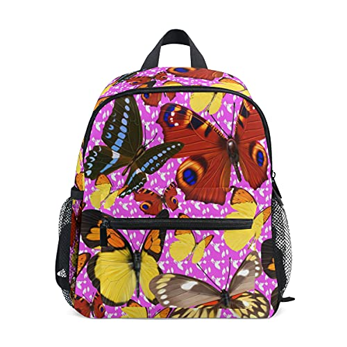 Mini mochila escolar 1 bolsa de colegio para niños niñas rosa oscuro patrón mariposa colorido elegante decoración