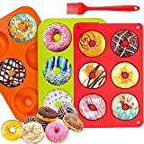 MISHAER Moldes de silicona para hacer donuts, de silicona, bandeja para hornear rosquillas, magdalenas, bagels, galletas, pasteles,paquete de 3 unidades (Naranja verde rojo)
