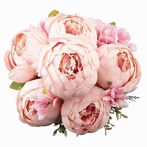 Decpro 1 Paquete de Ramo de peonías Artificiales, Flores de peonías Grandes de Seda de 19 Pulgada con capullos para Bodas, oficinas, hoteles, decoración, centros de Mesa(Primavera Rosa Rosa)