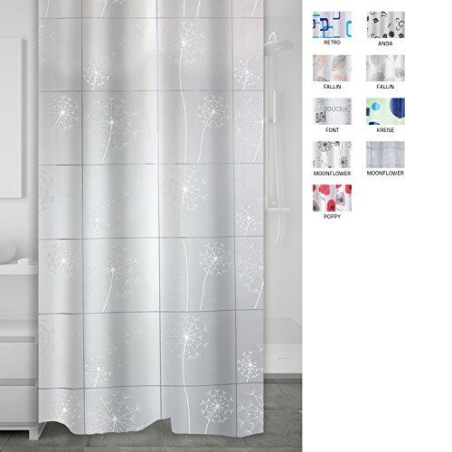 RIDDER 303211-00 Duschvorhang Folie ca. 180x200 cm, Moonflower weiß