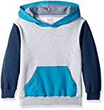 Fruit of the Loom Boys' Big Fleece Hoodie Sweatshirt, Athletic T.Blue Amulet Teal Heather/Smoke Blue Stripe, Medium