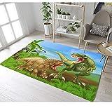Kinder Teppich Cartoon Dinosaurier Druck Wasserdicht Polyester Teppich Baby Schlafzimmer Spiel Krabbeldecke 120cmx170cm