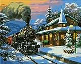 Gofission Paint by Numbers Train Cabin Snow Trees, 40,6 x 50,8 cm, kit de pintura numérica (tren, sin marco)