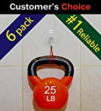 """SillyCute Super Heavy Duty Suction Cup Hook, Suction Lasts Years, Strong Hanger for Bathroom, Kitchen Accessories, Wreath, Bird Feeder, Christmas Lights and More, Clear, 3 1/4"""", 6-Pack"""